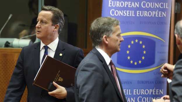 David Cameron (left) at EU summit, 27 Jun 14