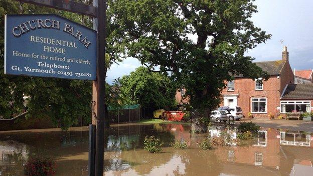 Church Farm Residential Home in Hemsby under water