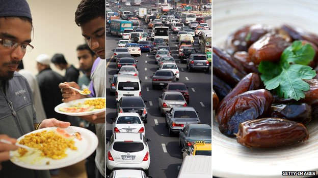 Left to right; two men break eat together, a gridlocked street in Dubai, a street vendor sells dates