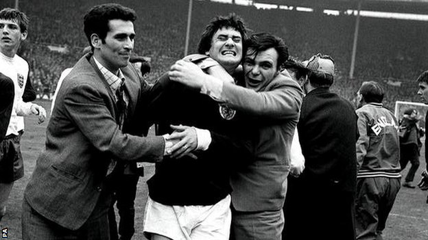 Scotland's Jim Baxter after 3-2 defeat of England in 1967