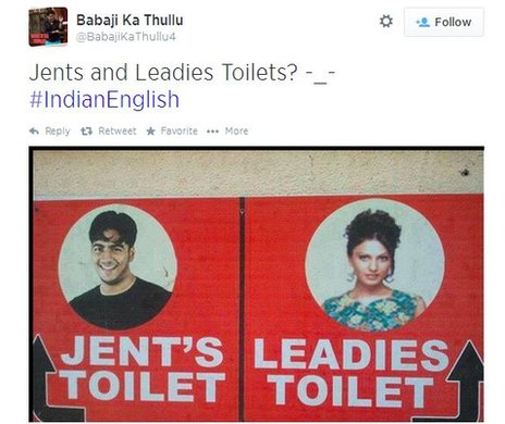 "A tweet with an image of a toilet sign which says ""Jents and Leadies"""