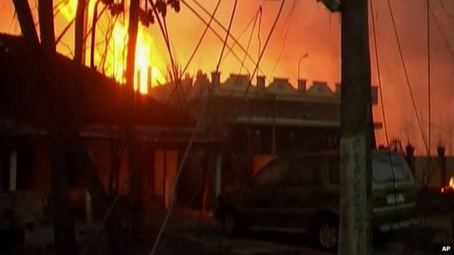 Fire burning in Nagaram, Andhra Pradesh