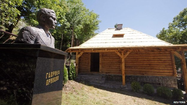 The newly renovated birth house and a bust of Gavrilo Princip on 27 June 2014
