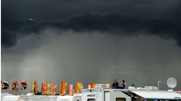 Storm clouds gather on the first day of Glastonbury
