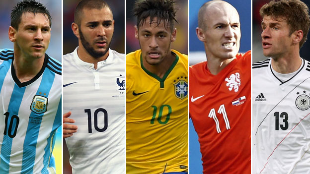 Lionel Messi, Karim Benzema, Neymar, Arjen Robben and Thomas Muller