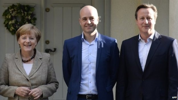 Angela Merkel, Fredrik Reinfeldt and David Cameron
