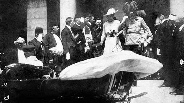 Archduke Franz Ferdinand and his wife Sophie, Duchess of Hohenberg, on the day they were assassinated in Sarajevo