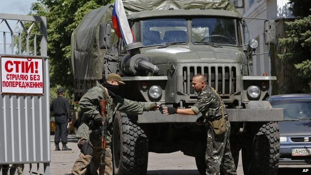 Pro-Russian militants in Donetsk, 28 June