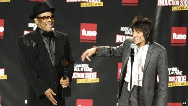 Bobby Womack, left, and Ronnie Wood on stage at the ceremony for the soul singer's induction into the Rock and Roll Hall of Fame - 4 April 2009