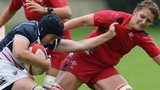 Wales' Sioned Harries tackles the USA's Kate Daley