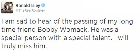 Tweet from Ronald Isley