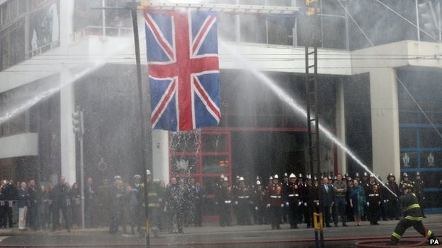 The union jack received a soaking during a demonstration by members of the 11th Company of Volunteer Firefighters
