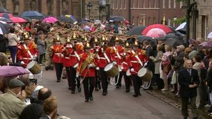 The battalion march through Lichfield