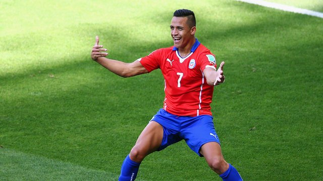 Alexis Sanchez equalises for Chile