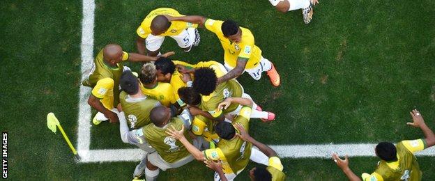 Brazil team celebrate opening goal