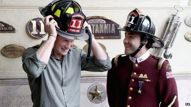 The prince even tried a firefighter's helmet for size