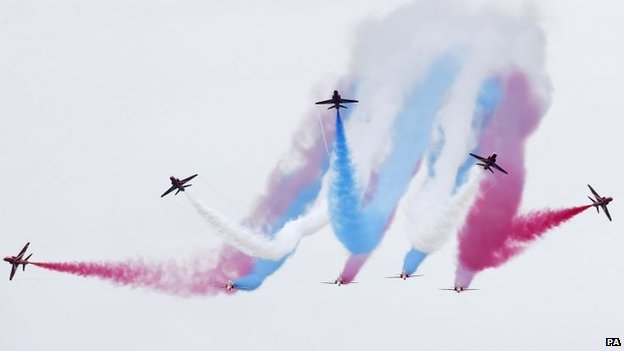 A display by the elite Red Arrows closed the day's events