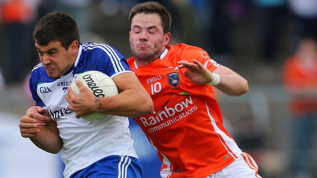 Drew Wylie of Monaghan in possession against Armagh's Eugene McVerry