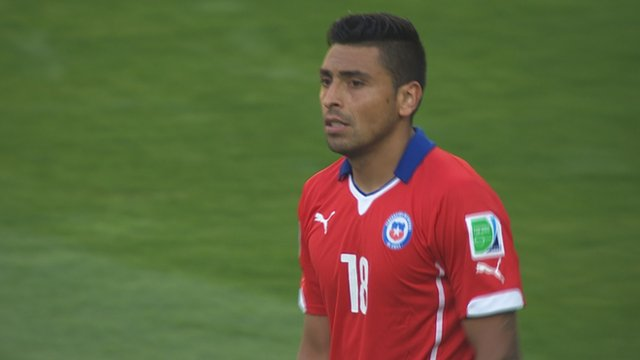 Chile's Gonzalo Jara misses the decisive penalty
