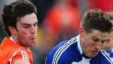 Armagh's Aaron Findon and Darren Hughes of Monaghan