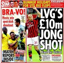 Nigel de Jong on the back page of the Daily Star