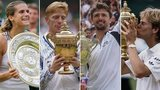 Mauresmo, Becker, Ivanisevic & Edberg with Wimbledon trophies