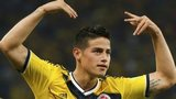 James Rodriguez scores for Colombia against Uruguay at the 2014 World Cup