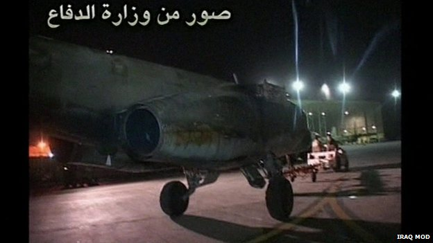 Iraq's defence ministry released footage of the Sukhoi 25 jets arriving on Saturday night