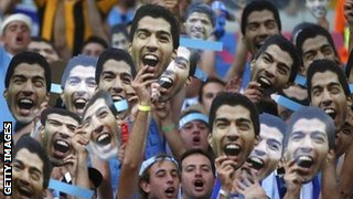 Uruguay fans with Luis Suarez fans before the Columbia match