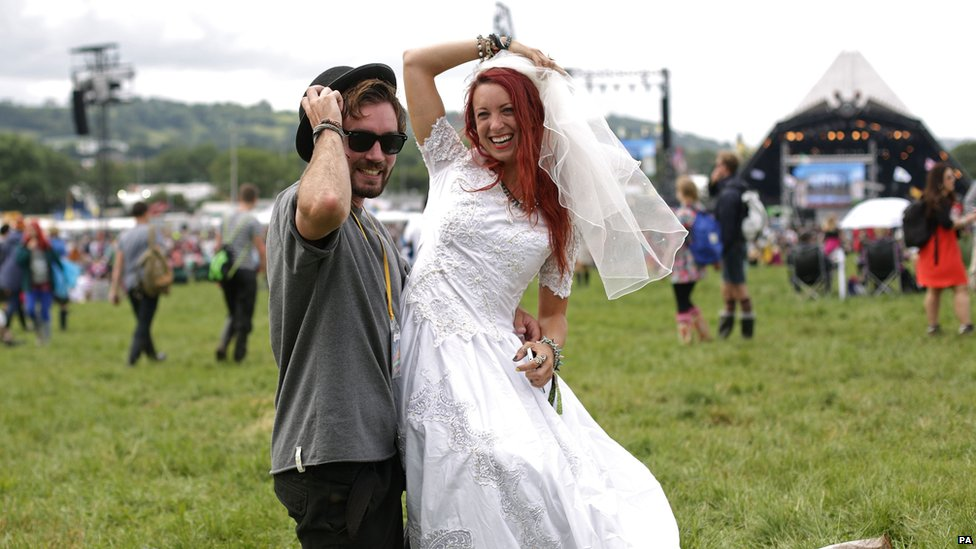 Newly-weds at Glastonbury
