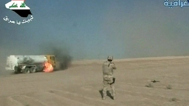 Still from state television of Iraqi military