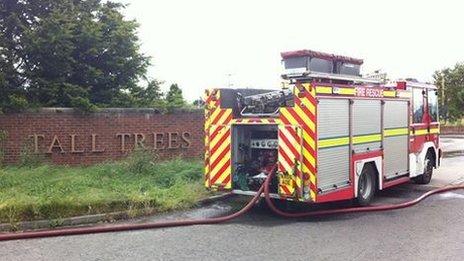 Fire engine outside hotel
