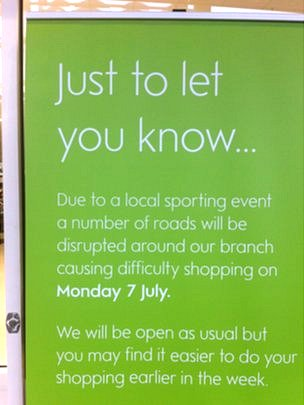"Waitrose sign describes Tour de France as ""local sporting event"""