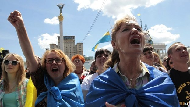 Protesters gathered in Kiev to show their anger at the temporary ceasefire between government troops and rebels in the east of Ukraine - 29 June 2014