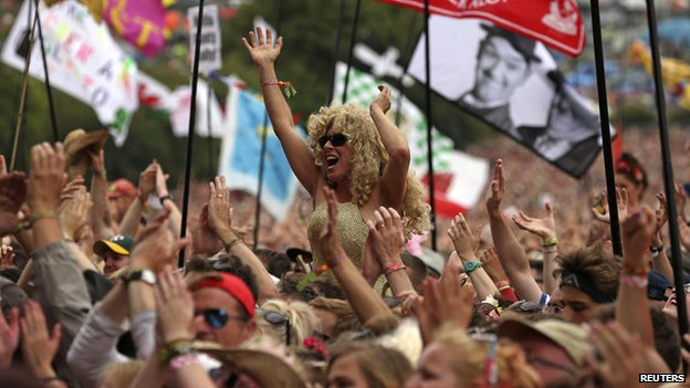 Dolly Parton fans at Glastonbury Festival