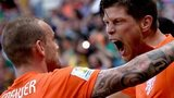 Klaas Jan Huntelaar celebrates with Netherlands team-mate Wesley Sneijder