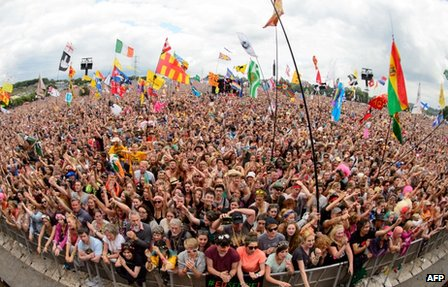 The Glastonbury Festival crowd watching Dolly Parton