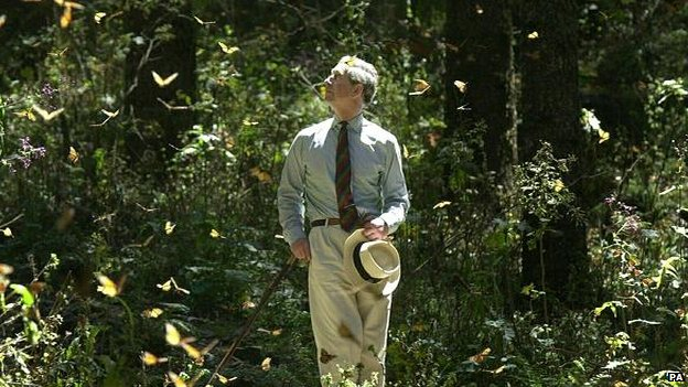 Prince Charles in a butterfly sanctuary