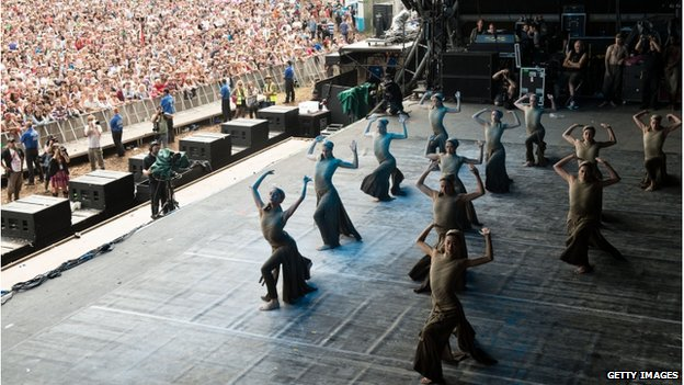 The English National Ballet performing on stage at Glastonbury