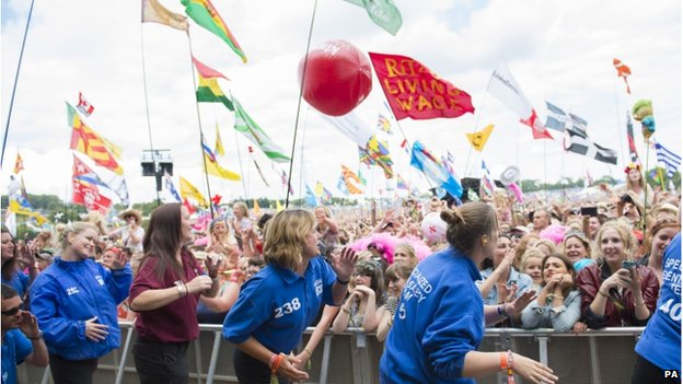 Festival staff dancing at Glastonbury