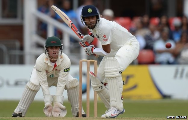 Cheteshwar Pujara of India batting during the Tour Match between Leicestershire and India at Grace Road on June 26, 2014 in Leicester, England.