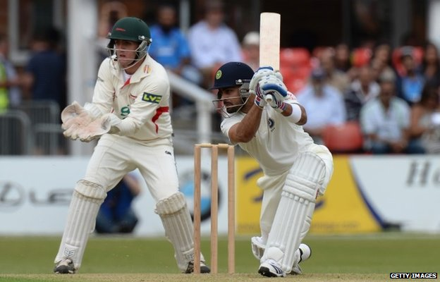 Virat Kohli of India batting during the Tour Match between Leicestershire and India at Grace Road on June 26, 2014 in Leicester, England.