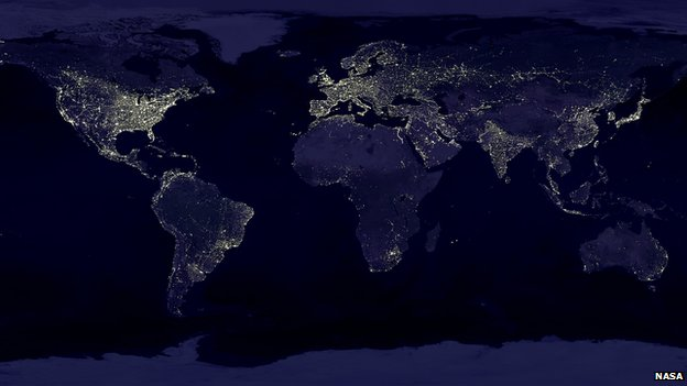 Satellite shot of the earth showing light pollution