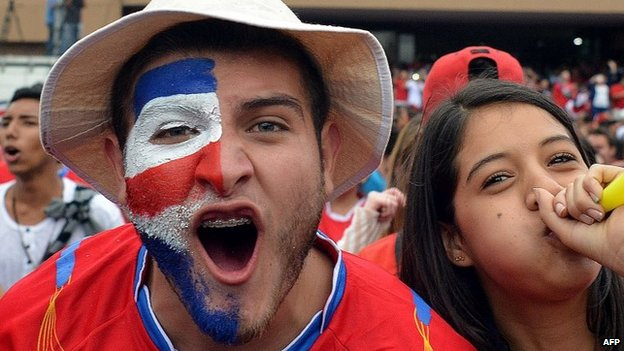 Costa Rica fans celebrate in San Jose on 29 June, 2014