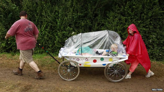 Glastonbury festival-goers