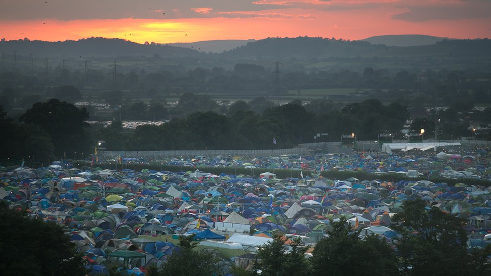 Glastonbury at sunset