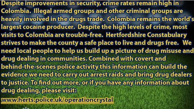 Colombia message tweeted by Hertfordshire Police