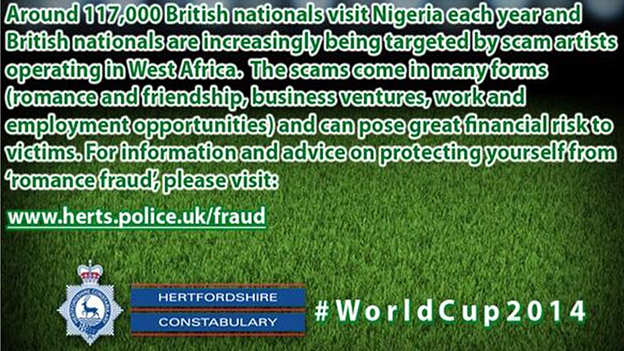 Nigeria message tweeted by Hertfordshire Police