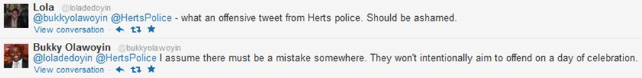 Twitter users complaining to Hertfordshire Police about Nigeria World Cup tweet