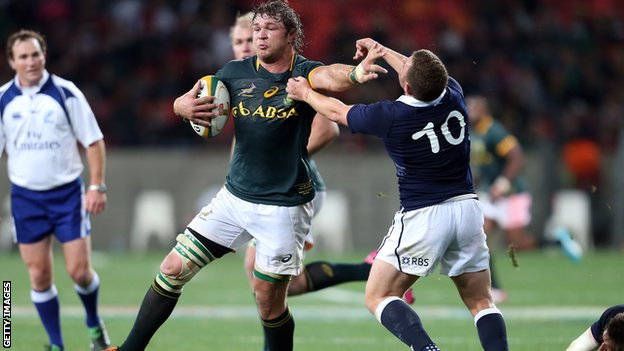 Duane Vermeulen brushes Scotland's Duncan Weir aside during the weekend Test